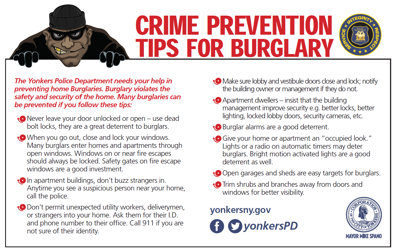Photo Of Burglary Prevention Tips (English)